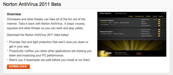 Ya puedes descargarte las versiones beta de Norton AntiVirus 2011 y Norton Internet Security 2011 50