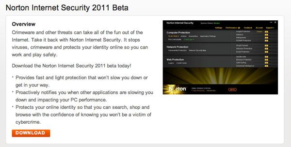Ya puedes descargarte las versiones beta de Norton AntiVirus 2011 y Norton Internet Security 2011 51