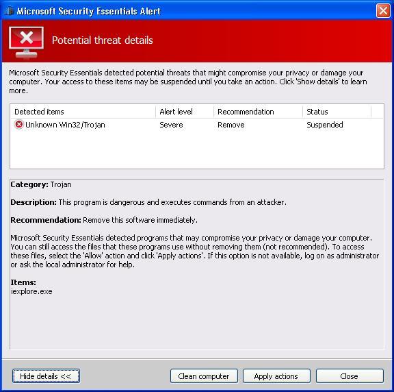 Malware en forma de falso Microsoft Security Essentials 52
