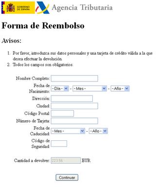 Nuevo timo on-line vía email de devolución de la Renta de Hacienda 50