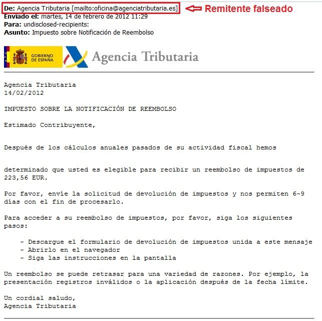 Nuevo timo on-line vía email de devolución de la Renta de Hacienda 49