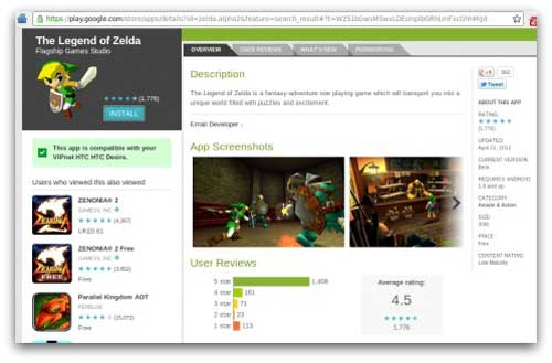 Legend of Zelda falso extiende spam en Android