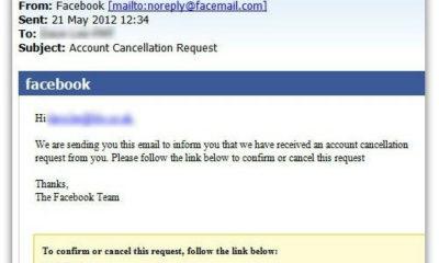 Falso correo de cancelación de cuenta en Facebook distribuye malware 52