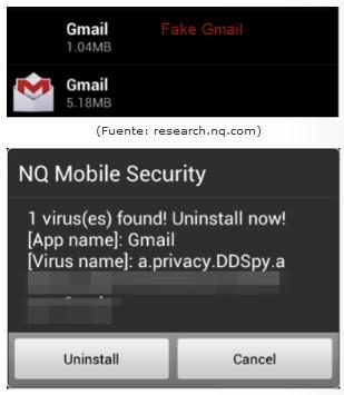 DDSpy Android 2 DDSpy, un Gmail falso para robo de datos en Android