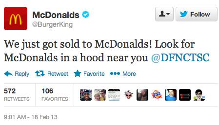 Burger King MacDonalds 2 Hackean la cuenta de Twitter de Burger King para convertirla en McDonalds