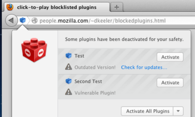 Firefox bloqueará plug-in Java, Reader o Silverlight 72