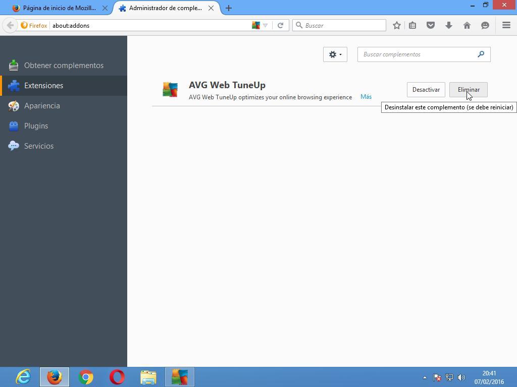 Eliminar extensión de Firefox