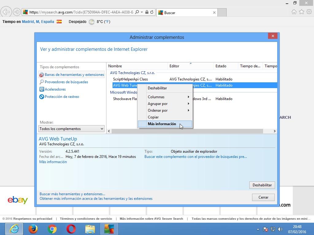 Eliminar extensión de Internet Explorer