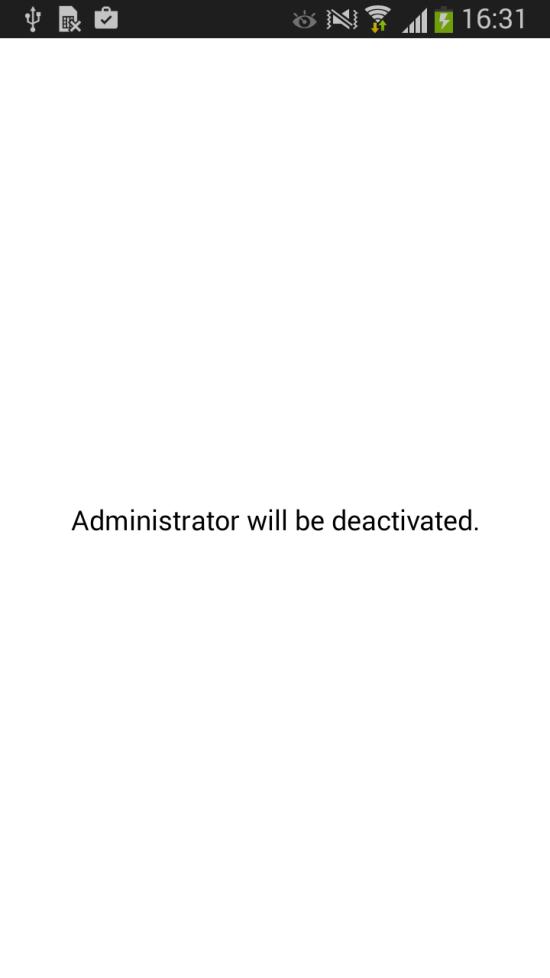Permisos de administrador quitados/revocados para Android/Spy.Agent.si