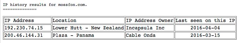 Direcciones IP de Mossack Fonseca según ViewDNS.info
