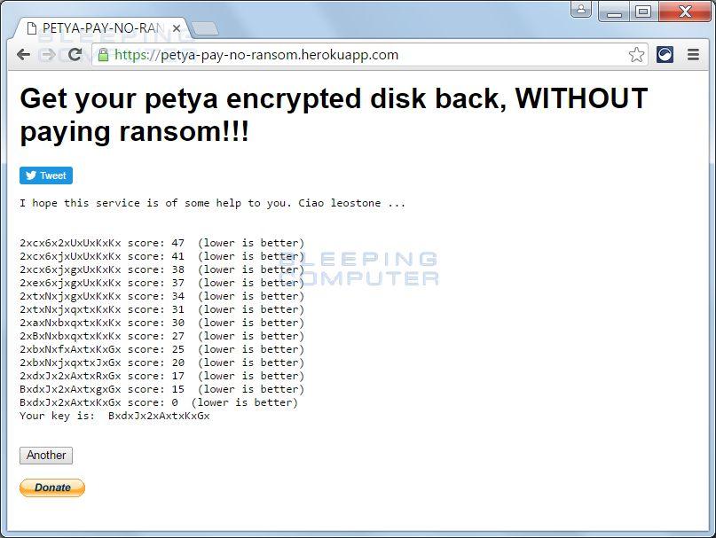 Clave de descifrado de Petya obtenido a través de la página web tras introducir los datos requeridos