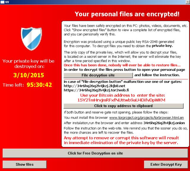Interfaz princpial de TeslaCrypt