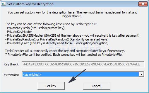 Clave y extensión de los ficheros configurados en TeslaDecoder