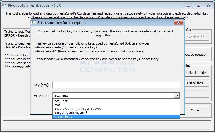 Interfaz para establecer los parámetros de descifrado de TeslaCrypt en TeslaDecoder