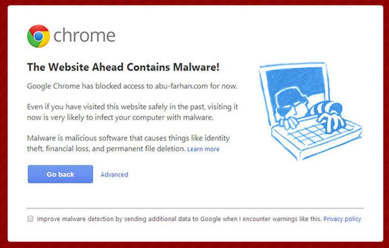 Aviso de que un sitio web puede contener malware en Chrome
