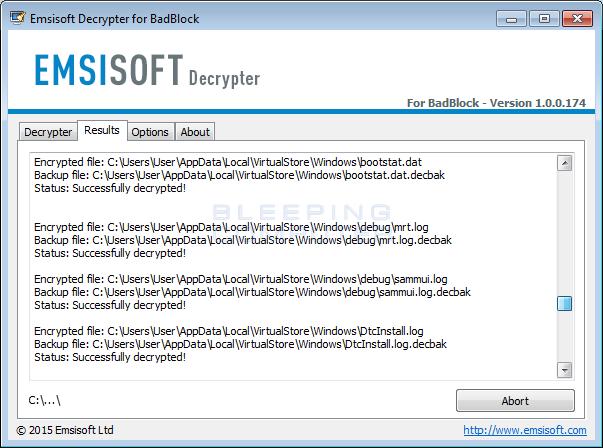 BadBlock Decryptor descifrando los ficheros