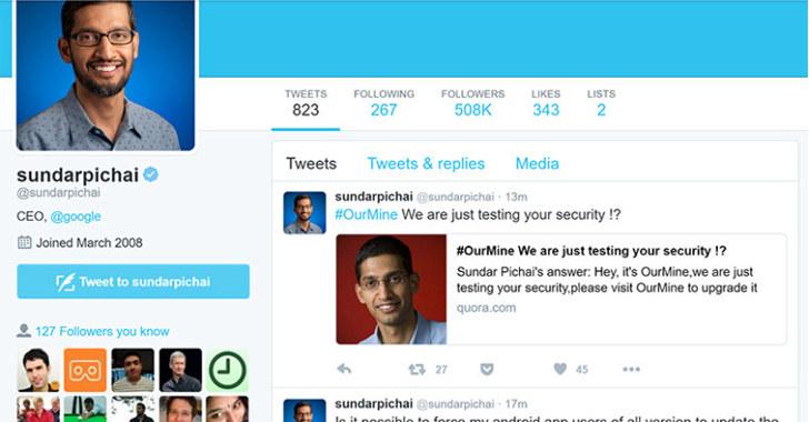 Evidencias de que la cuenta de Quora del CEO de Google, Sundar Pichai, ha sido hackeada