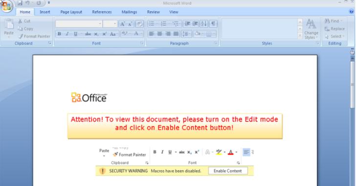Mensaje del ransomware Cerber tras infectar a traves de Microsoft Office