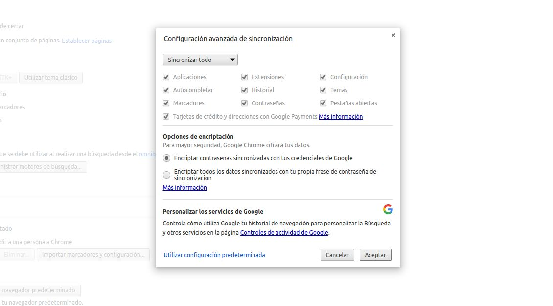 Opciones avanzadas de sincronización en Chrome