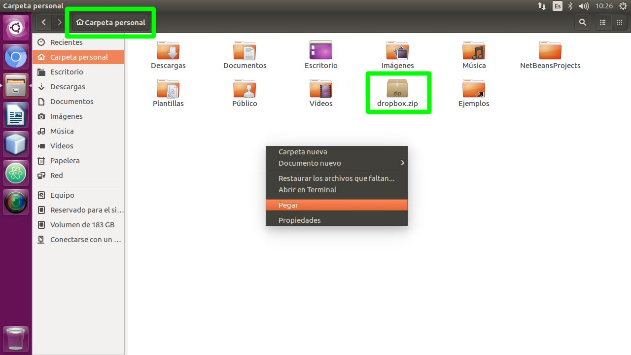 Dirigirse a la carpeta personal del usuario en Ubuntu Linux