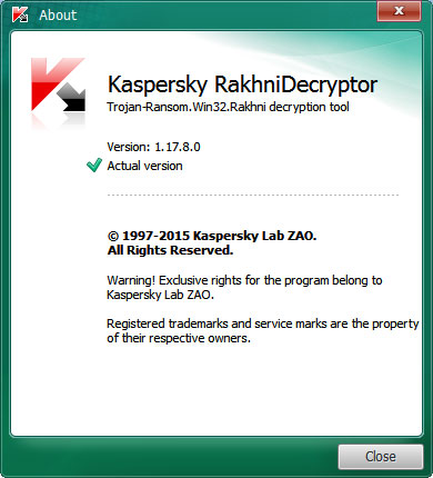 Comprobar versión en RakhniDecryptor