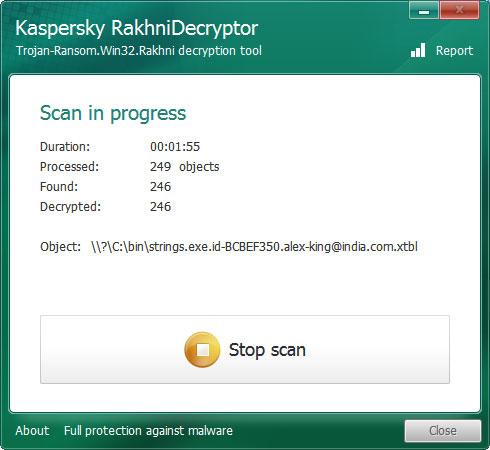 Proceso de descifrado ejecutándose en RakhniDecryptor