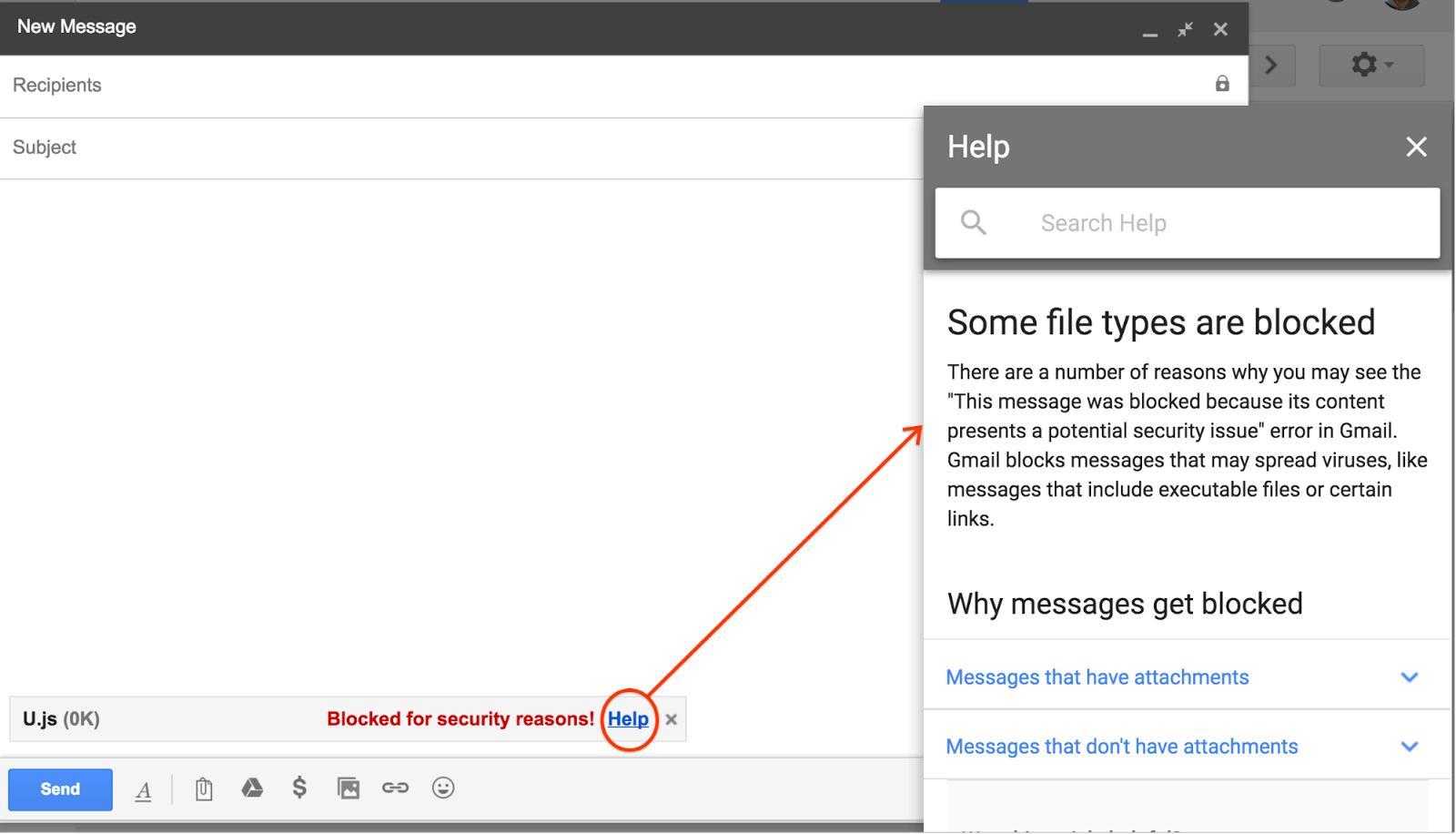 Gmail bloqueado un fichero JavaScript que iba ser adjuntando a un email