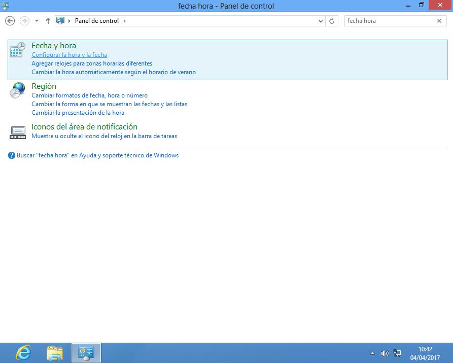 Configurar fecha y hora en Windows