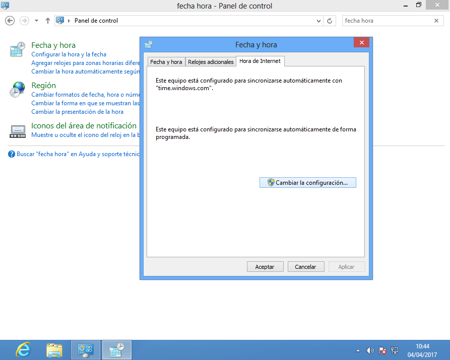 Configurar Hora de Internet en Windows