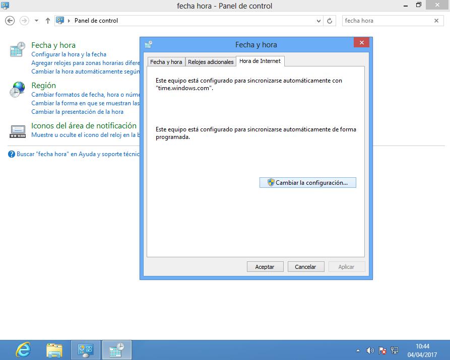 Configurar Hora de Internet en Windows