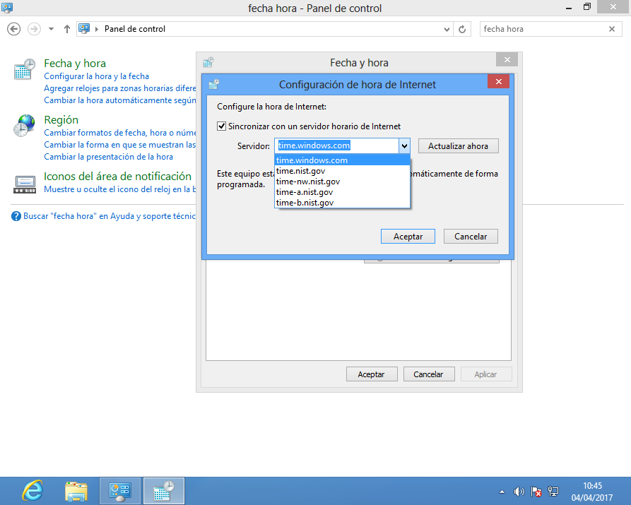 Establecer servidor NTP en Windows