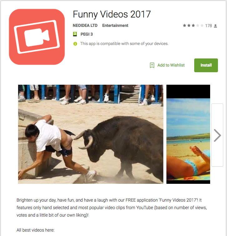 Funny Videos 2017, la aplicación que contiene le troyano bancario para Android BankBot
