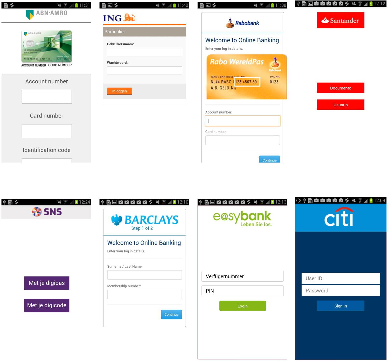 Ventanas superpuestas de BankBot, troyano bancario para Android, que suplantan las interfaces de bancos para robar datos