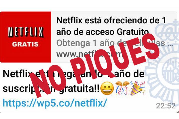La oferta de un año gratis de Netflix que circula por WhatsApp es falsa