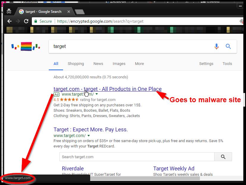 Campaña de malvertising relacionada con Target que consiguió colarse en Google