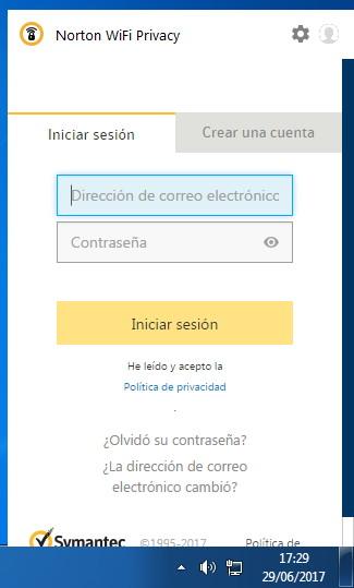 Inicio de sesión en Norton Wi-Fi privacy