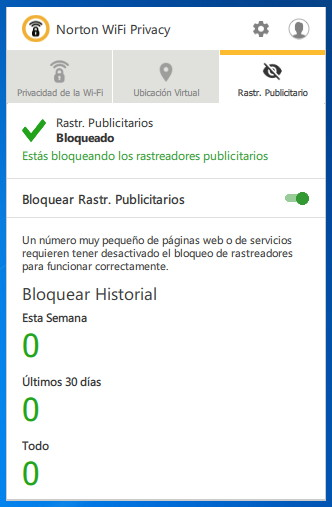 Bloqueador de rastreadores de publicidad de Norton Wi-Fi Privacy para Windows