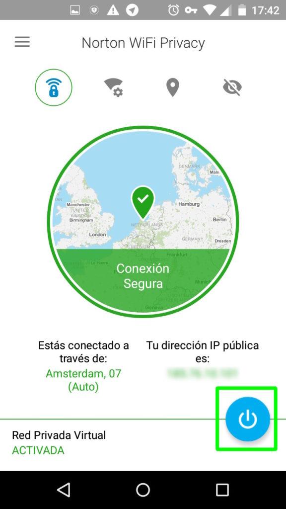 Cómo inhabilitar el servicio de VPN en Norton Wi-Fi Privacy para Android