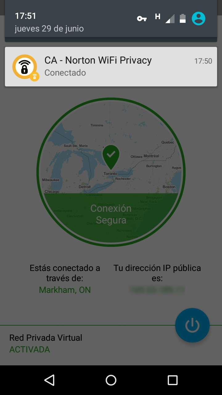 Norton Wi-Fi Privacy funcionando a través una conexión de Internet móvil