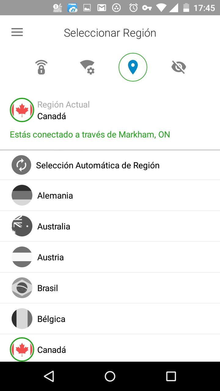 Seleccionar país al que conectarse en Norton Wi-Fi Privacy para Android