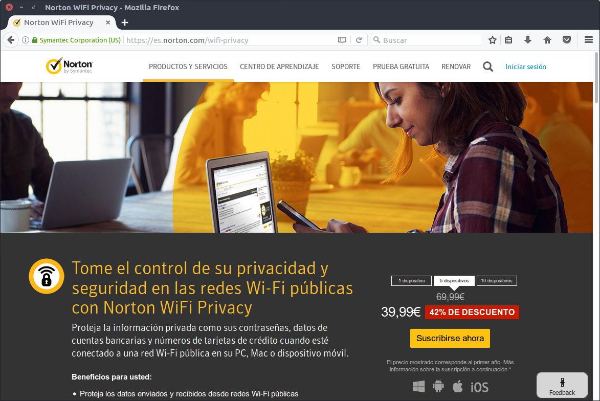 Precios de Norton Wi-Fi Privacy