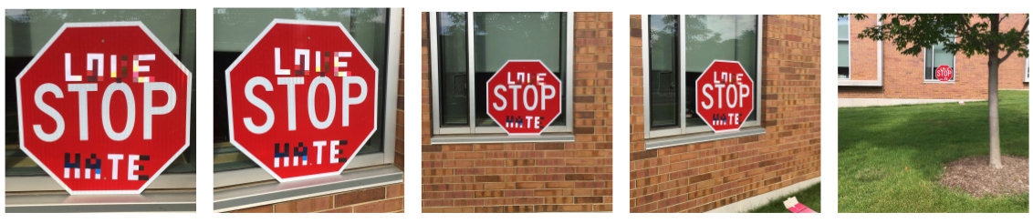 Señal de Stop con las palabras love y hate