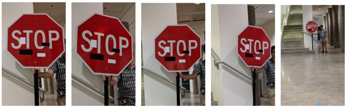 Señal de Stop con pegatinas en blanco y negro