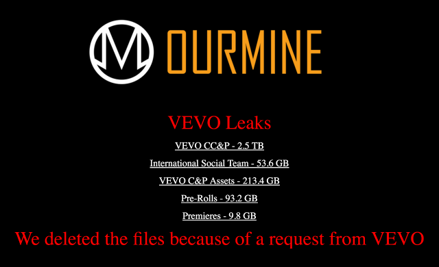 Sitio web de OurMind indicando que ha borrado el material que ha conseguido filtrar de Vevo