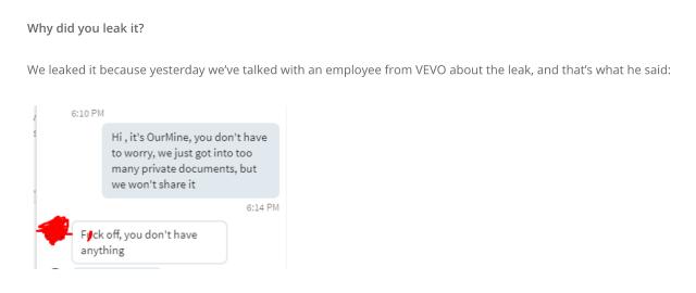 Intercambio de palabras entre OurMind y la víctima empleada de Vevo