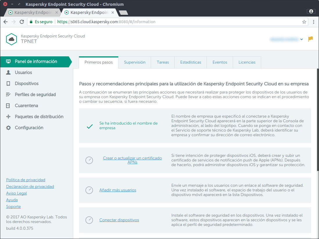 Primera imagen del panel de control de Kaspersky Endpoint Security Cloud