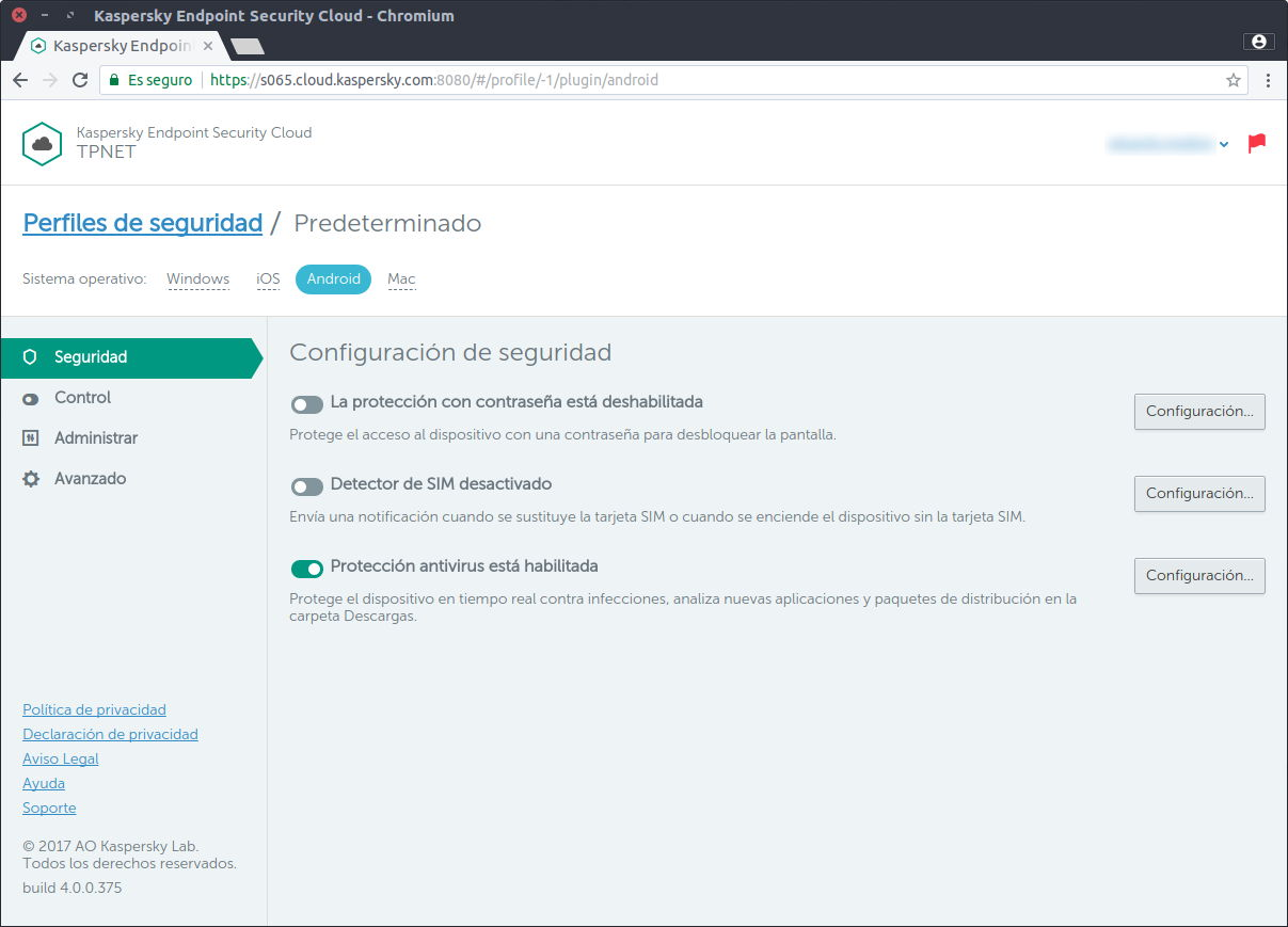 Protecciones Android de Kaspersky Endpoint Security Cloud