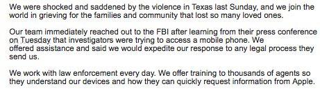 Comunicado Apple por el caso de la masacre de Texas en el cual hay implicado un iPhone