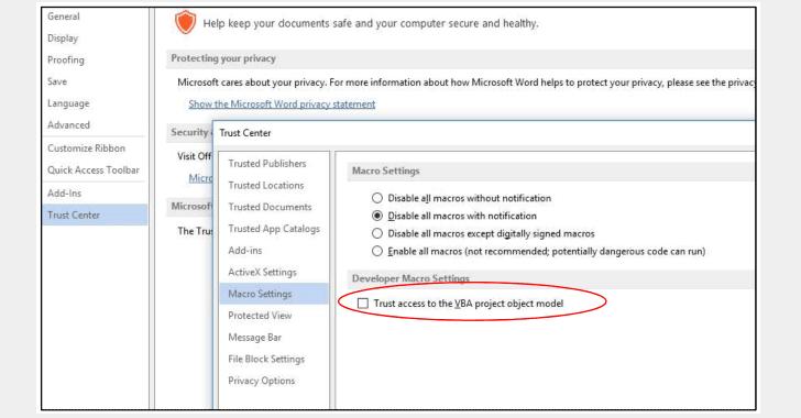 Habilitar macros no confiables con Microsoft Office