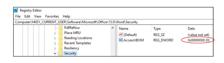 Parte del registro de Windows que habilita la ejecución de macros no confiables
